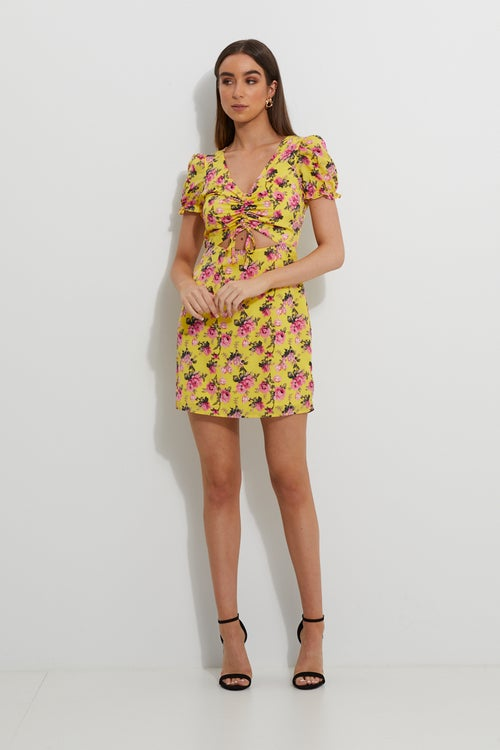 Designer Floral Ruched Front Keyhole Dress