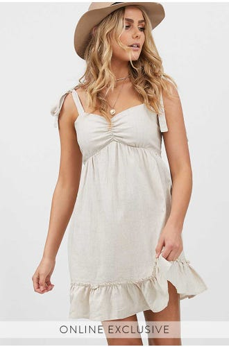 LINEN TIE SHOULDER DRESS