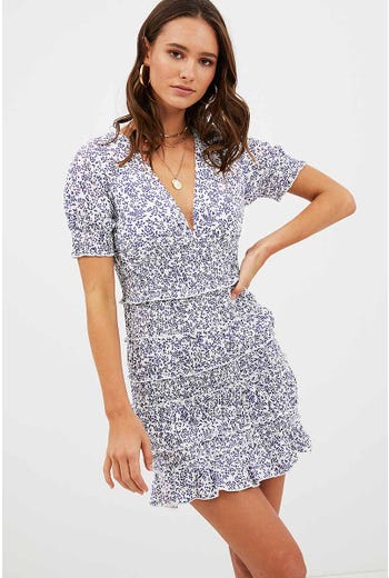 FLORAL SHIRRED DETAIL DRESS