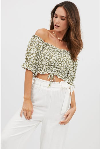FLORAL SHIRRING CROP TOP