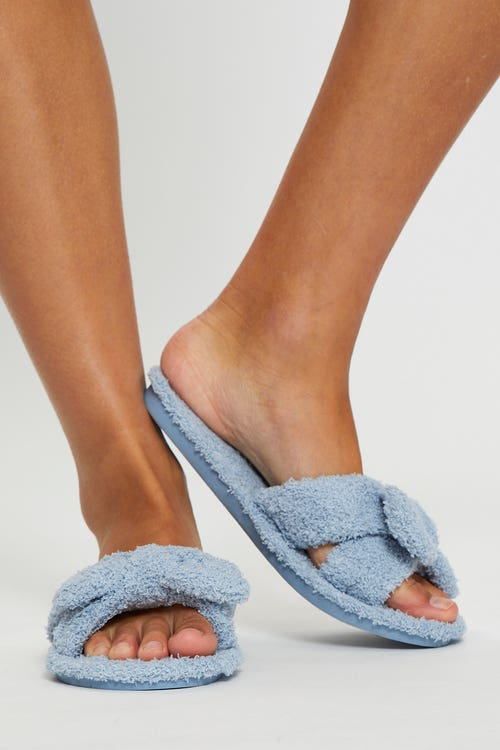 Fluffy Bow Detail Slippers