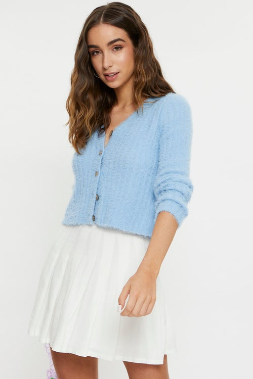Fluffy Button Front Cardigan