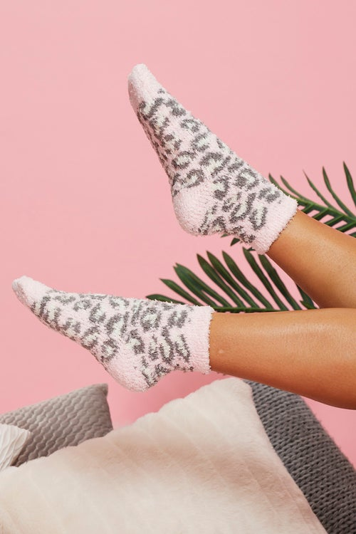 Fluffy Leopard Print Slipper Socks
