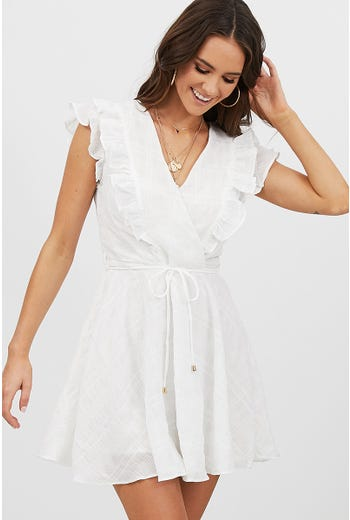 FRILL DETAIL TEXTURED DRESS
