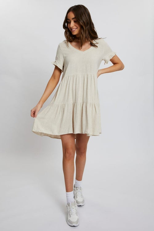 Frill Sleeve Linen Swing Dress