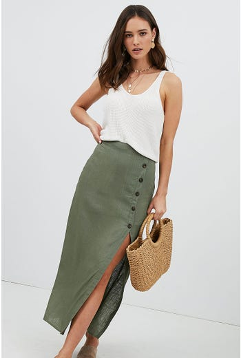 FRONT SPLIT BUTTON DETAIL MAXI SKIRT