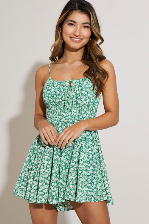 Gathered Bust Floral Playsuit