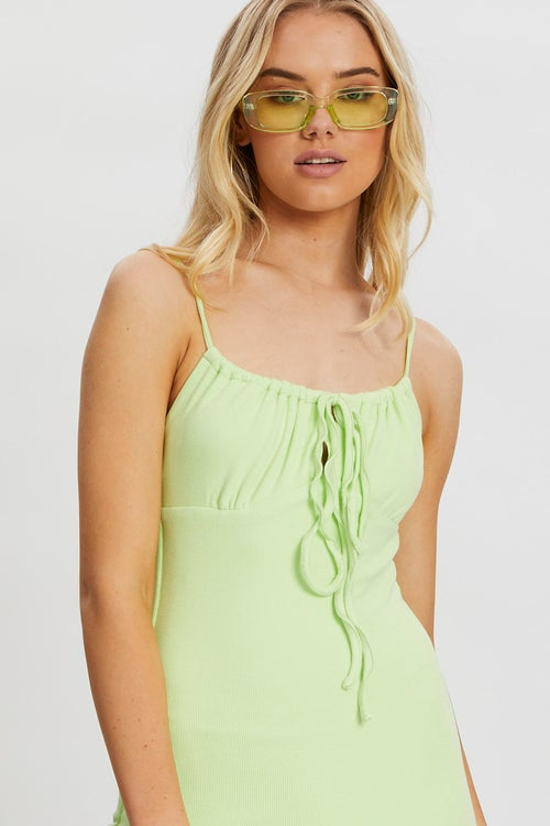 Gathered Bust Ribbed Bodycon Dress
