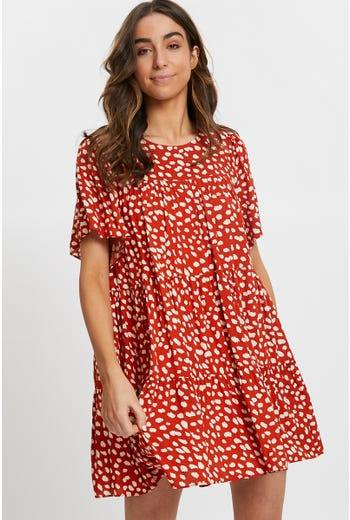 Geo Print Babydoll Swing Dress
