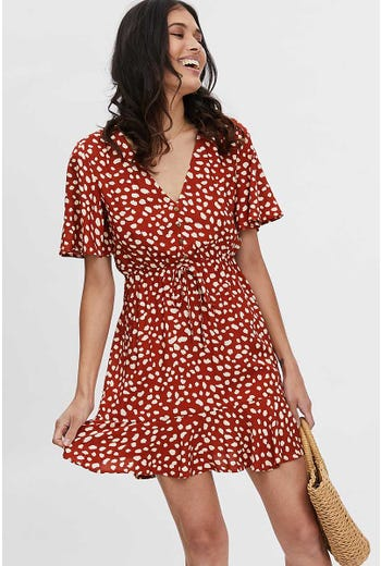 GEO PRINT BUTTON FRONT DRESS