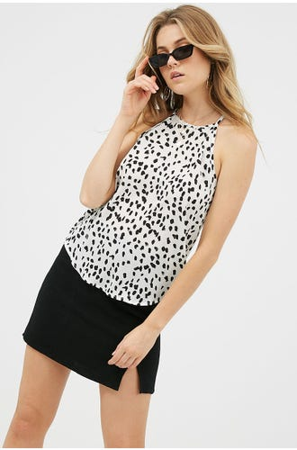 GEO PRINT HIGH NECK TOP