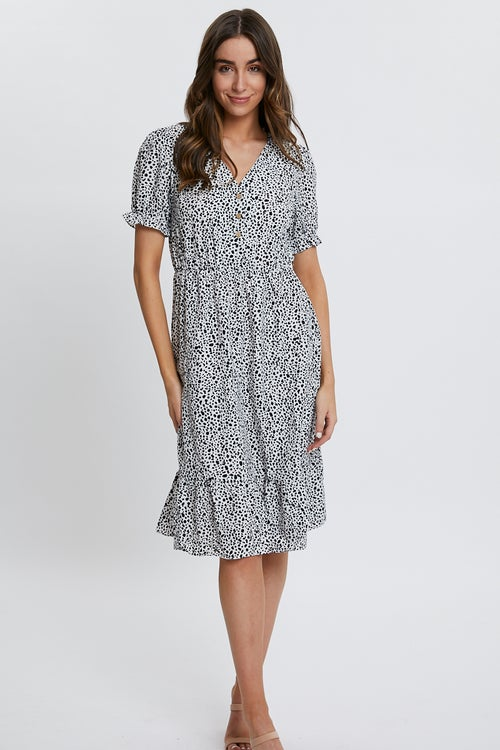 Geo Print Puff Sleeve Midi Dress