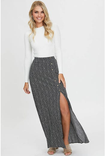 GEO PRINT SIDE SPLIT MAXI SKIRT