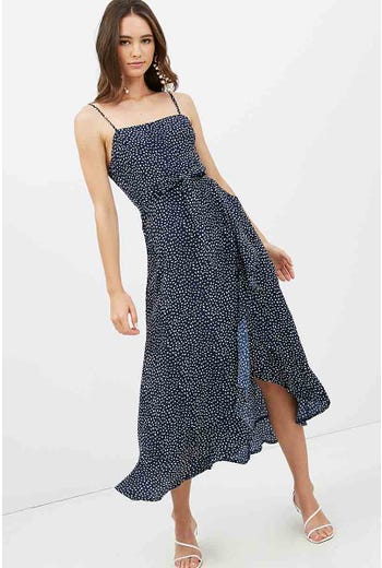GEO RUFFLE MAXI DRESS