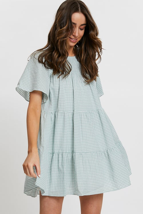 Gingham Babydoll Swing Dress