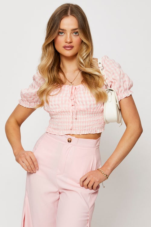 Gingham Check Shirred Top