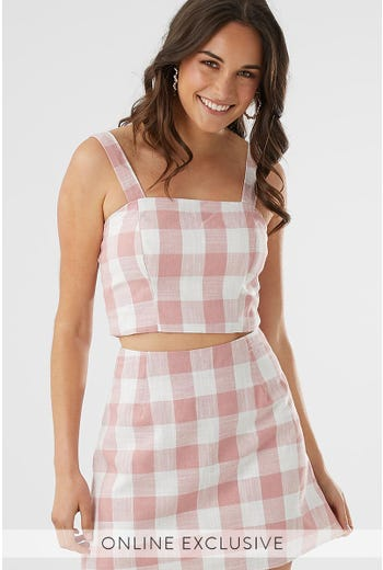 GINGHAM CHECK SINGLET TOP