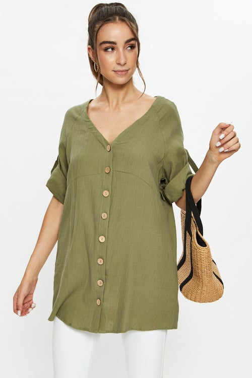 Half Sleeve Linen Look Long Shirt Top