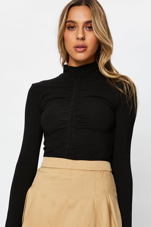 High Neck Ruched Top