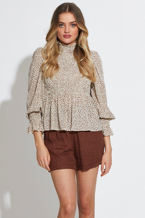 High Neck Shirred Top