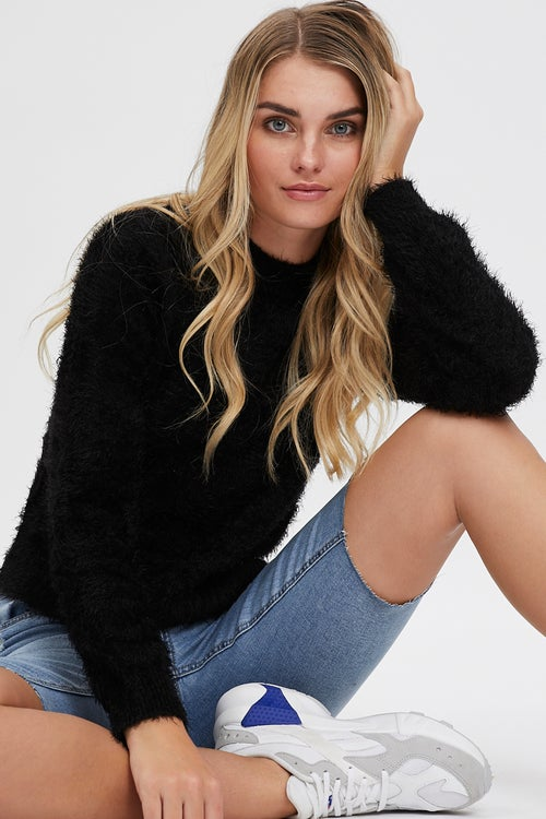 High Neck Solid Fluffy Sweater