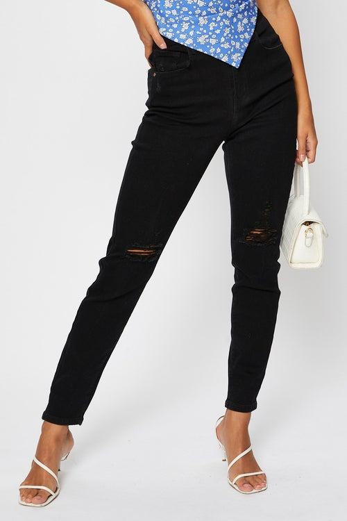 High Rise Knee Distress Black Jeans