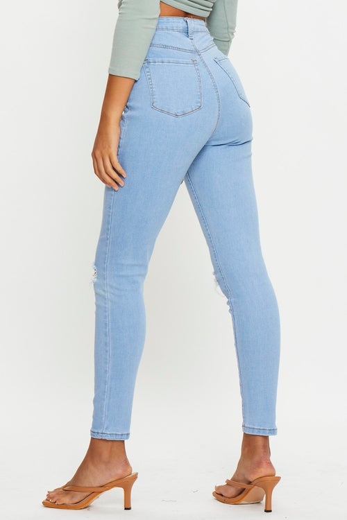 High Rise Knee Rip Jeans