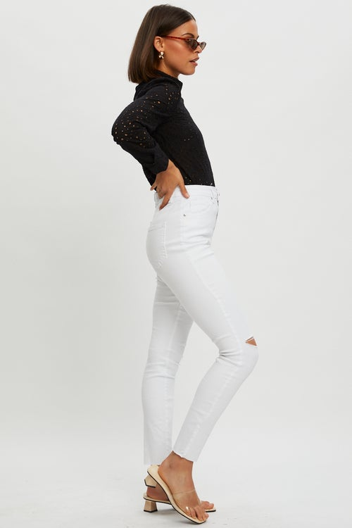 High Rise One Knee Rip Denim Jeans