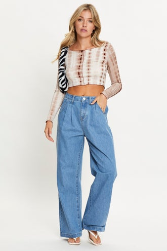 High Rise Pleats Straight Jeans