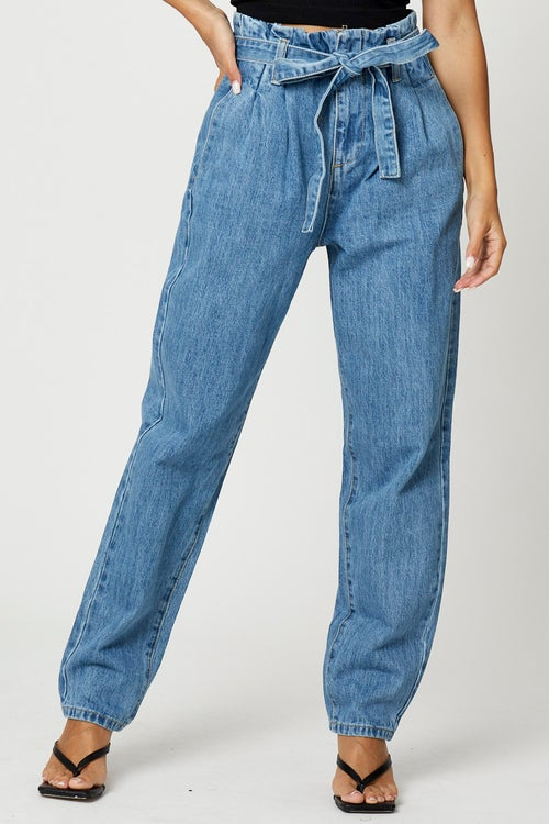 High Rise Waist Tie Up Mom Jeans