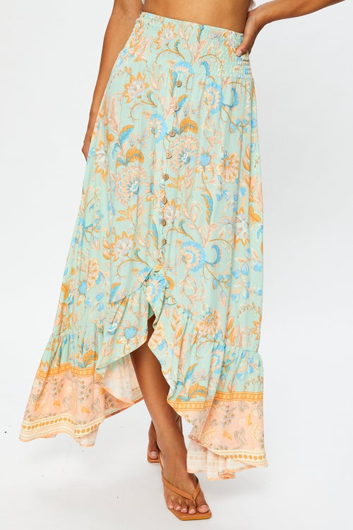 High Waist Boho Print High-Low Midi Skirt
