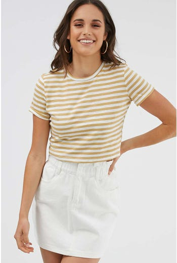 STRIPE TURN UP CUFF TEE
