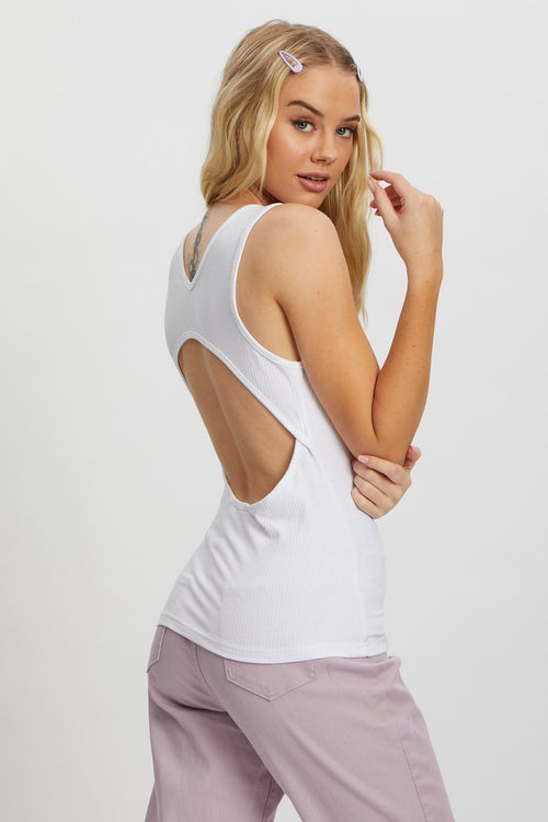 Jersey Rib Scoop Neck Cut Out Back Tank Top