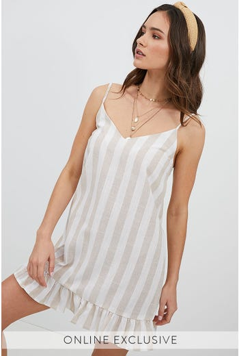 KEELY STRIPE RUFFLE DRESS