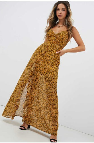 KEHLANI LEOPARD WRAP DRESS