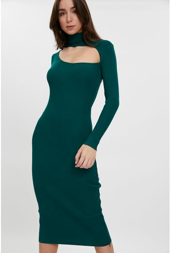 Keyhole Ribbed Midi Dress