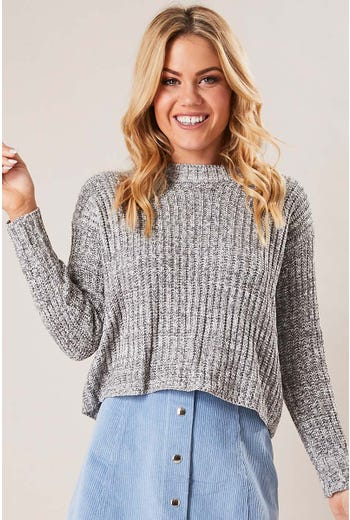 MARL LACE UP BACK KNIT