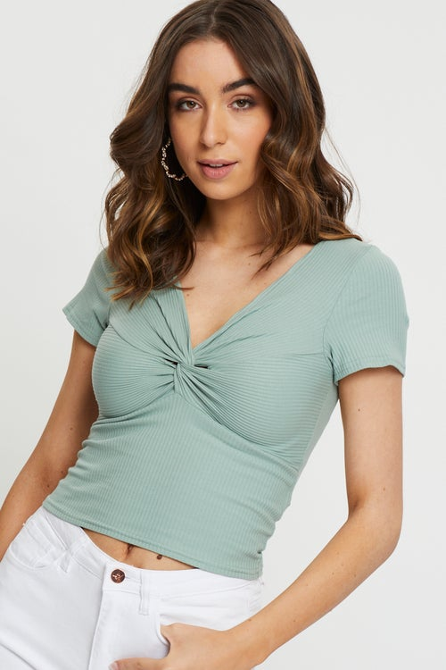 Knot Front Rib Top