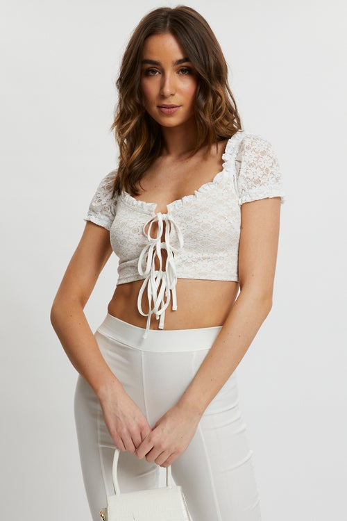 Lace Tie Front Puff Sleeve Top