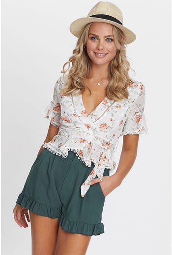 LACE WRAP FRONT TOP