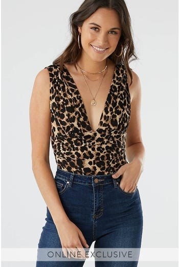 LEOPARD LOW V BODYSUIT