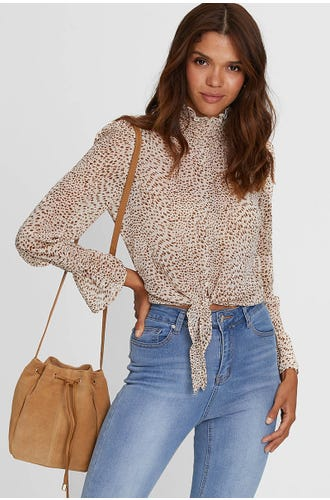 LEOPARD PRINT HIGH NECK TIE FRONT TOP