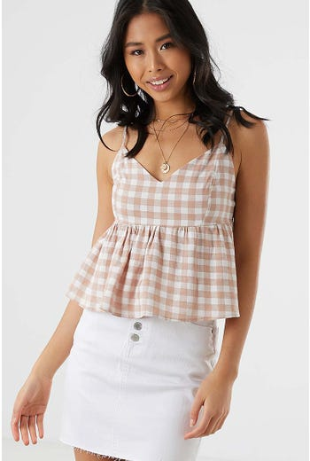LINEN BLEND CHECK PEPLUM TOP