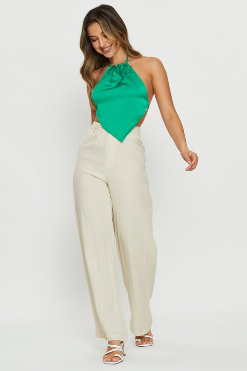 Pleated Front Wide Leg Pants