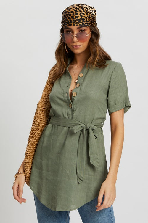 Linen Button Front Long Shirt