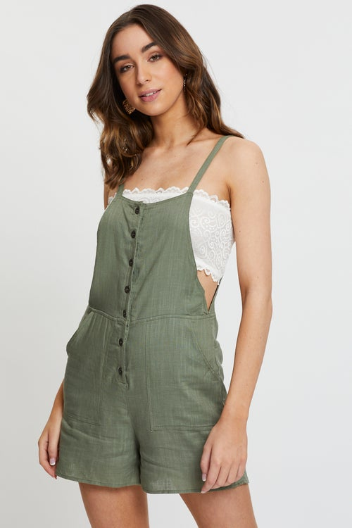 Linen Button Front Playsuit