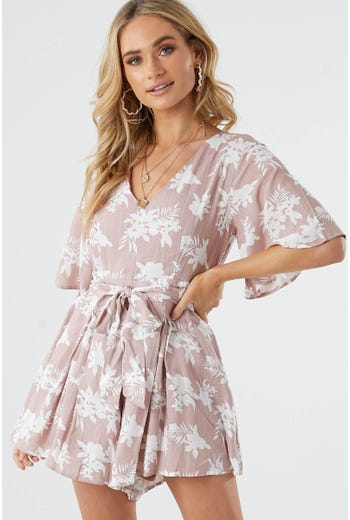 FLORAL ANGEL SLEEVE PLAYSUIT