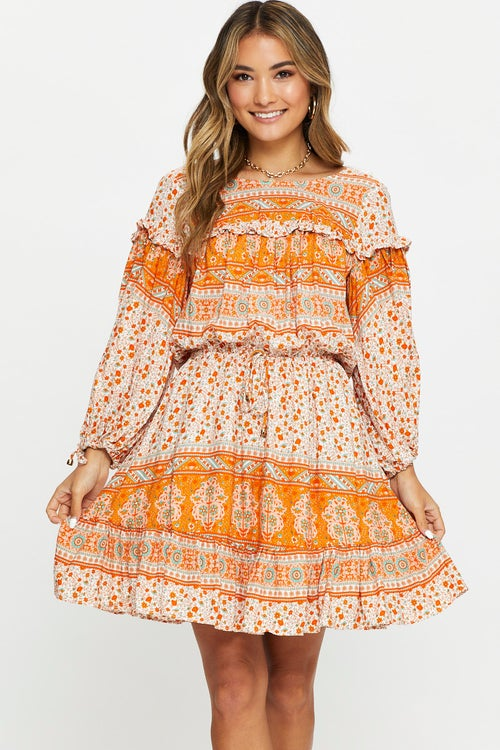 Long Sleeve Boho Print Skater Dress