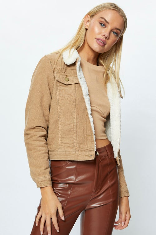 Long Sleeve Cord Faux Shearing Lined Jacket