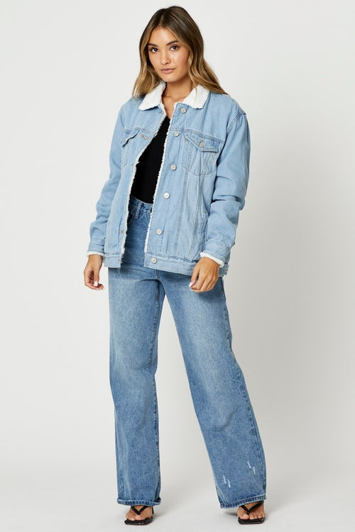 Long Sleeve Denim Faux Shearling Jacket